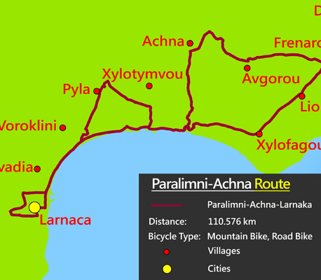 Cyprus famagusta cycling paralimni-achna route